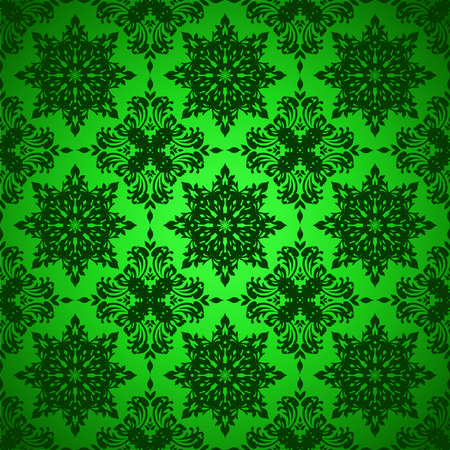 Shades of green seamless repeat background with floral design Vector