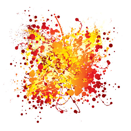 splats: Red and yellow abstract ink splat with white background