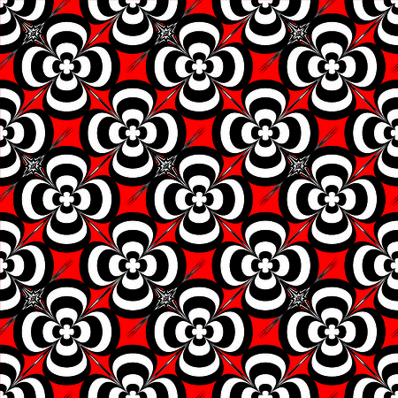 bloat: Red and black abstract floral seamless repeat background
