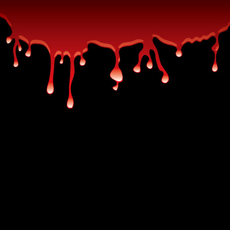 Slick of blood dribbling down a black background with light reflection Vector