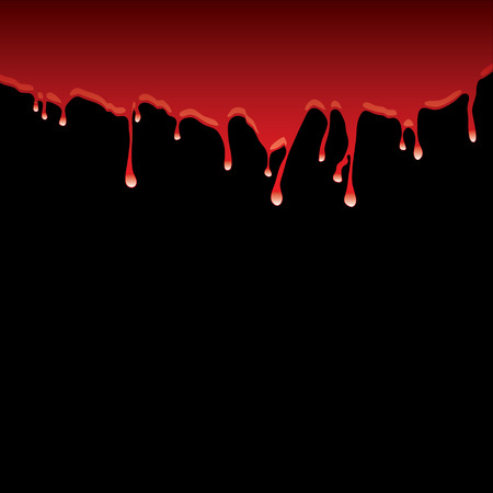 Blood red top border with dribble effect and black background Vector