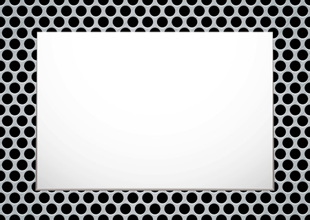metalic design: Brushed metal background with blank white canvas ready for your own image Illustration