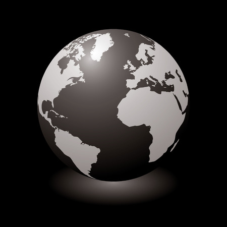 mainland: Modern globe with light shadow and black background Illustration