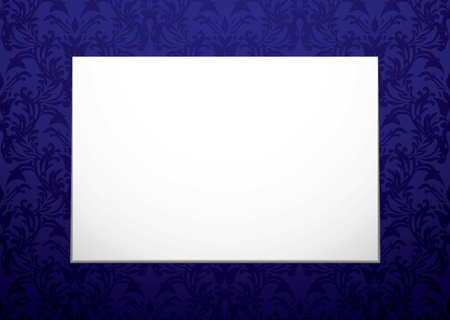 pictureframe: Modern blank white canvas on a floral purple wallpaper background