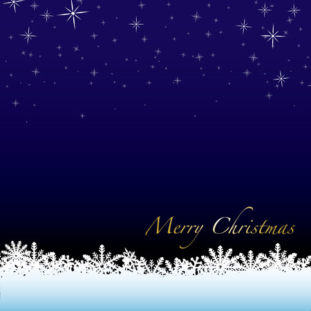Christmas winter scene with snow drift and starry night sky Vector