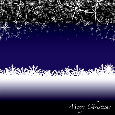 Blue and white christmas scene with snow flakes falling from the sky Vector