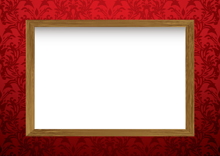 pictureframe: Red wallpaper wall with shadow and wooden framed picture with copy space
