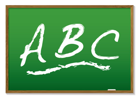 learn your abc drawn on a green chalk board with wooden frame Vector