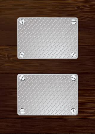 shinning: Dos de plata anti deslizamiento de chapa con tornillo con pared de madera  Vectores