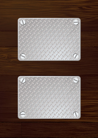 Two silver anti slip metal plate with screw with wooden wall Vector