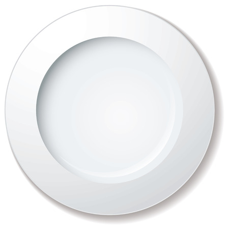 rim: white plate with large rim and drop shadow Illustration
