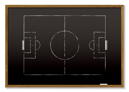 chalk board: black board with wood frame and chalk drawing of pitch