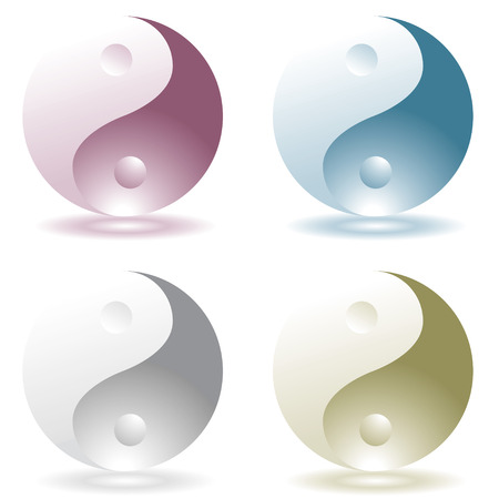 four illustrated ying yang icons with drop shadow Vector