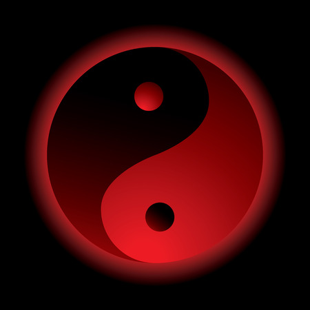 bright red ying yang logo with outer glow Vector