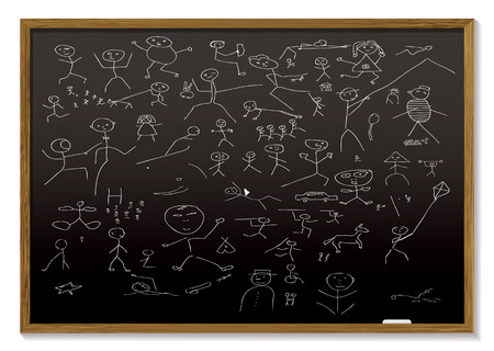 school black board with childish chalk drawing of people Vector