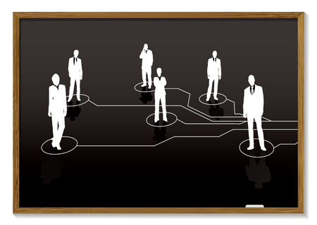 blackboard with chalk white business people and connections Stock Vector - 5947239