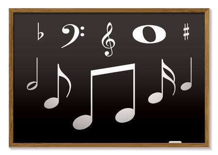 music lesson inspired with musical notes on a blackboard Vector