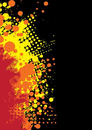 ink splat: Fondo abstracto de naranja y rojo con tinta splat patr�n Vectores