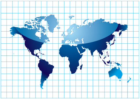 Blue world map with mesh and light reflection Stock Vector - 5947237