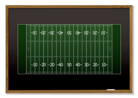 chalk board: American football field with chalk markings on black board