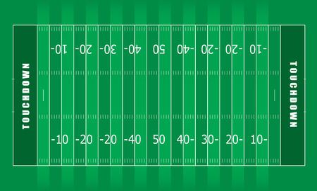 terrain foot: Illustr� de terrain de football am�ricain avec des rayures vertes et les lignes blanches Illustration