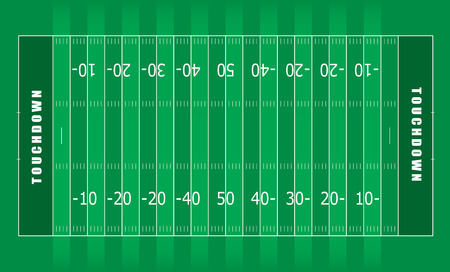 Illustrated american football field with green stripes and white lines Vector