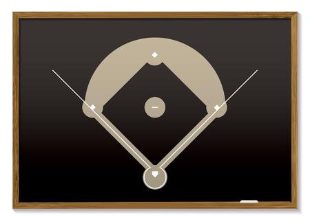 Teaching black board with basic baseball field drawn Stock Vector - 5973382