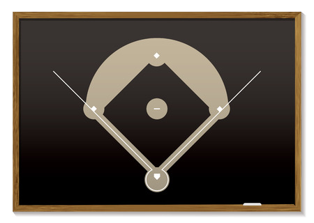 baseball field: Teaching black board with basic baseball field drawn