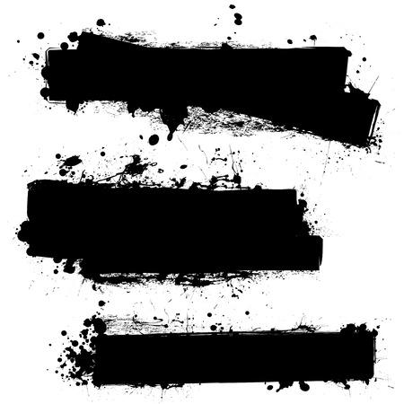 ink splat: tres banners de splat de tinta con efecto de grunge en negro