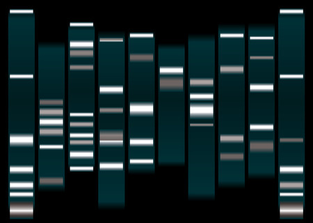 dna medical illustration with indicator marks and black background Illustration