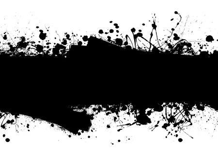 Black ink splat background with roller marks and text space Vector