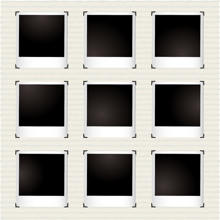 instant photo gallery with metal corner holders and copyspace Stock Vector - 6013523