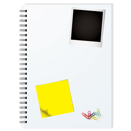 Business writing pad with instant photograph and paper clips Vector