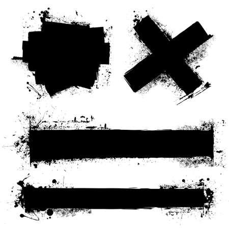 ink splat: Splat de tinta negra con marcas de rodillos y efecto de grunge Vectores