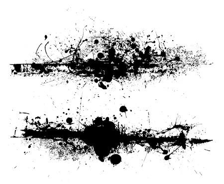 ink splat: Dise�o de splat de tinta negra con marcas de arrastre de rodillos y Gore