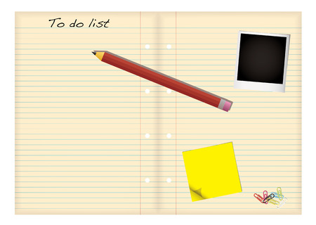 Grunge paper with to do list and pencil with stationery elements Vector