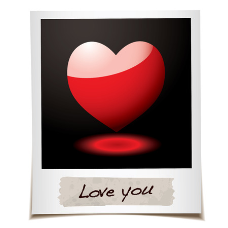 instant message: Instant photograph with red love heart and message