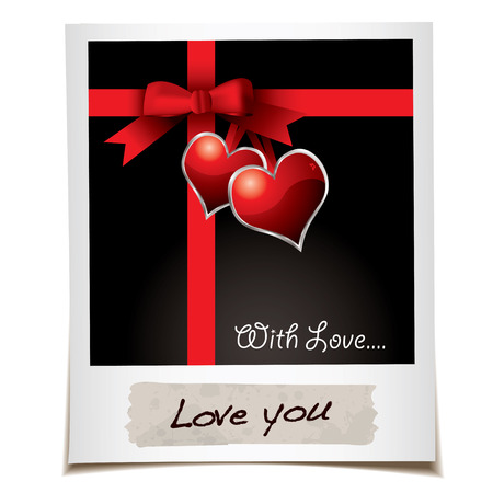 Instant photo with love hearts and red ribbon Vector