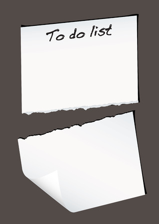 Single piece of white paper torn in half with to do list Vector