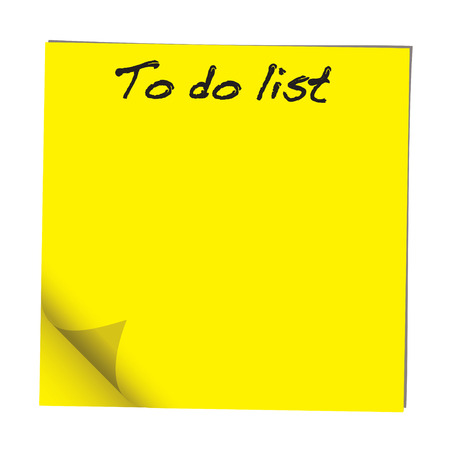 to do list: Yellow stick note paper with to do list hand written Illustration