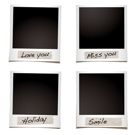 Instant photograph with tape and special feelings hand written Vector
