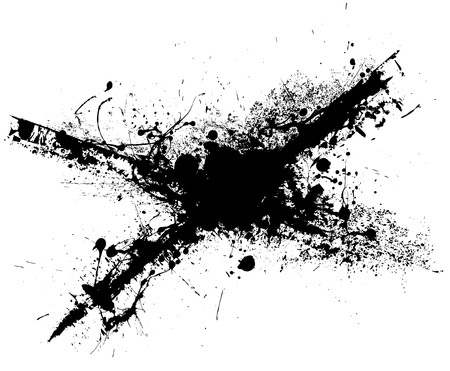 blob: Black ink grunge splat with white background illustration Illustration
