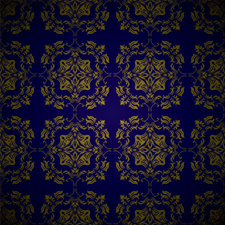 Royal blue and gold seamless repeating design with floral elements Vector