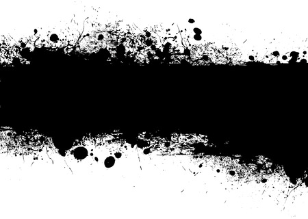 ink splat: Bandera de tinta negro con dise�o de s�mbolo de tinta con copia espacio
