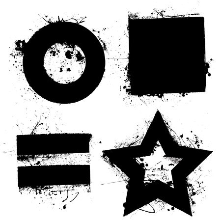 equals: Black grunge ink splat shapes with star and circle