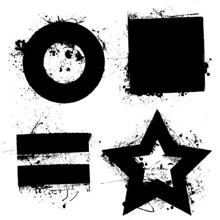 equals: Schwarz Grunge Ink Splat Formen mit Star und Kreis Illustration