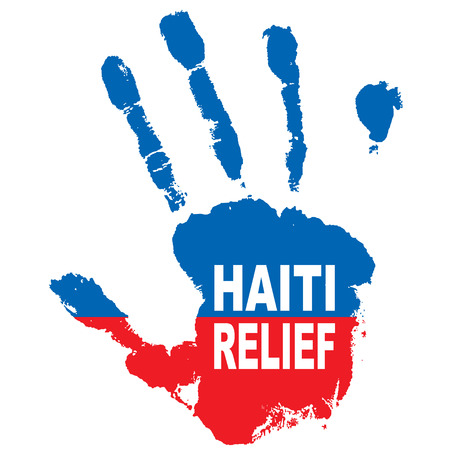 haiti: Grunge ink hand with the colours of haiti flag and relief message