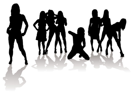 Collection of sexy women in silhouette with black figures and shadow Vector