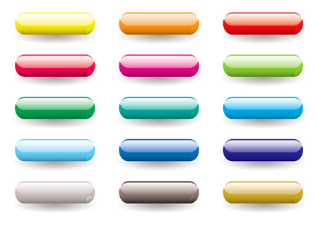 lozenge: Twelve brightly coloured lozenge shaped icons buttons with drop shadow