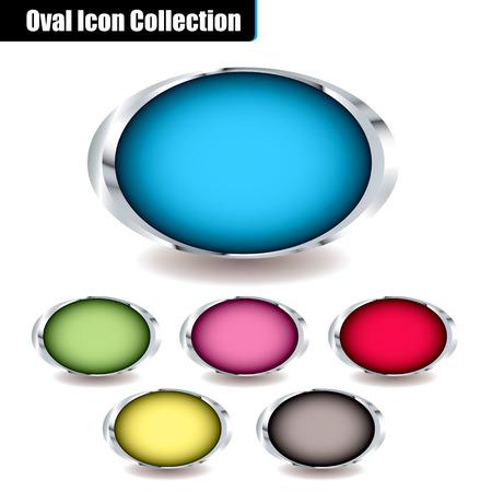 �valo: Colecci�n de iconos ovales con centros de colorido y biseles metales y sombra ideal para colocar su propio texto en  Vectores